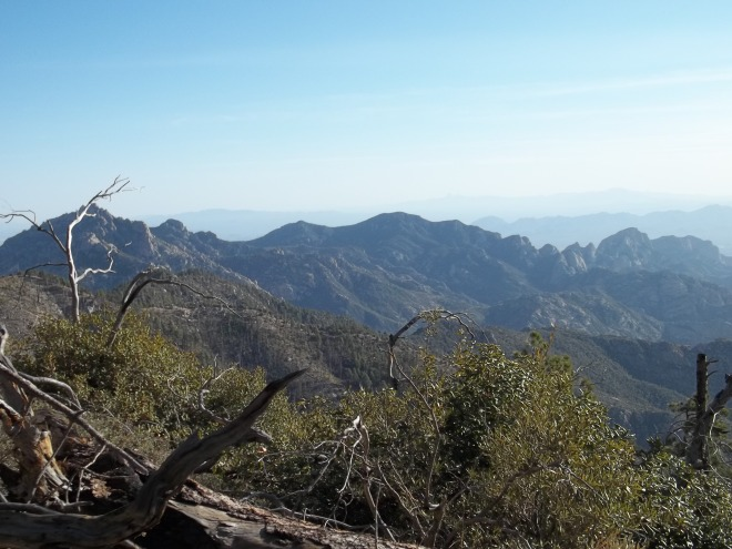 Prior to Reaching the Mt. Lemmon Trail We're Rewarded with a Great Southern View of Cathedral Rock (on the left) and the Southern Most Perimeter Ridge of the Santa Catalinas